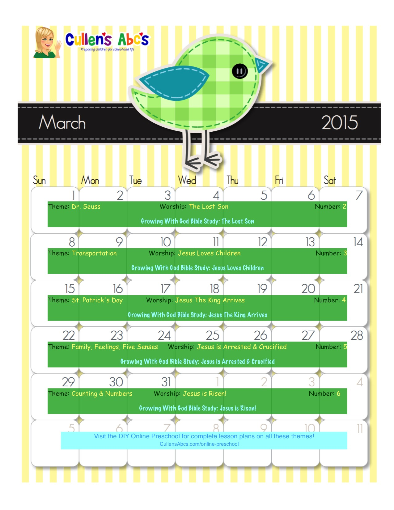 March Online Preschool Calendar 2015