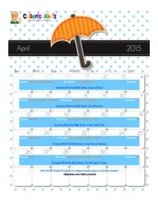 April Online Preschool Calendar 2015