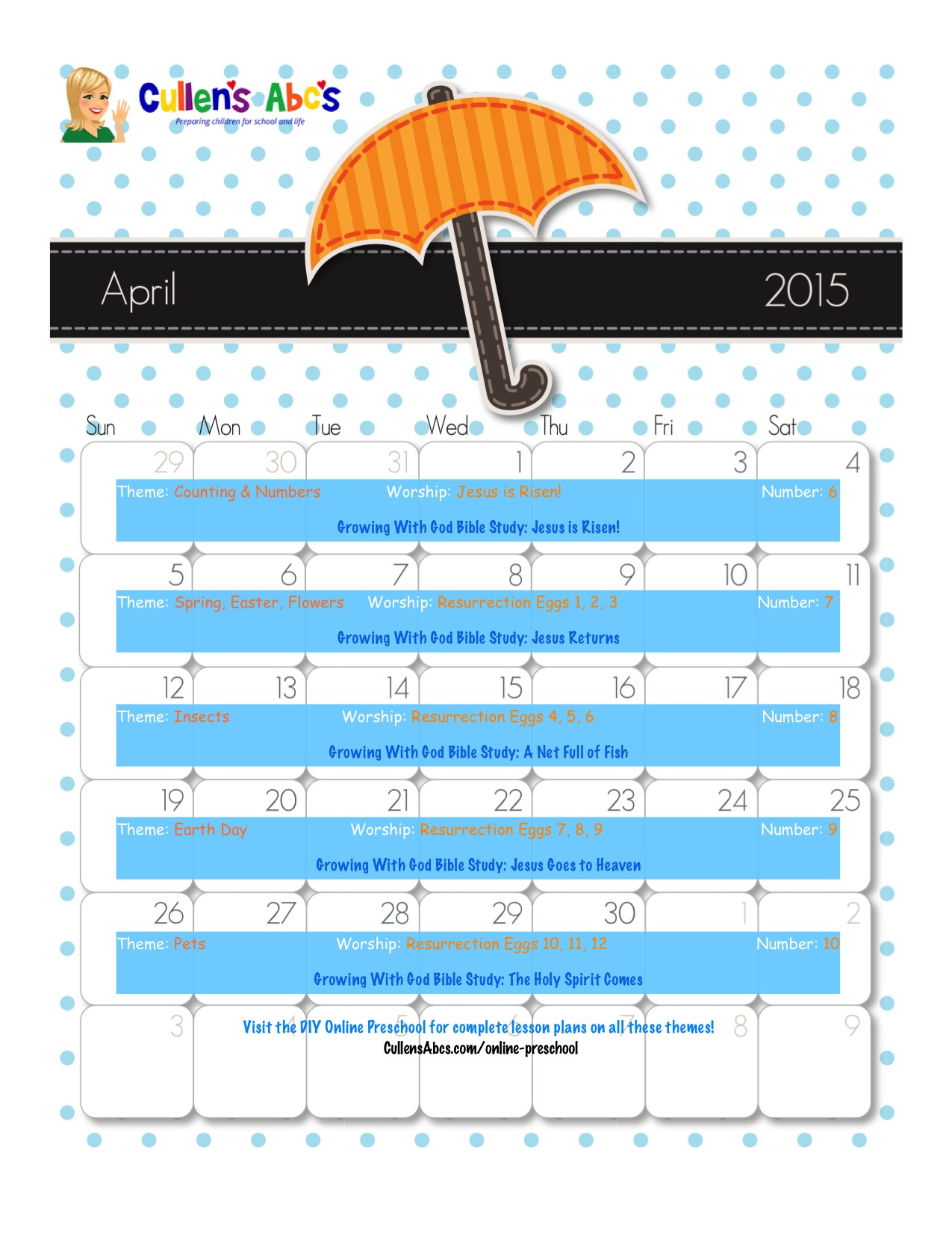 April Online Preschool Calendar 2015