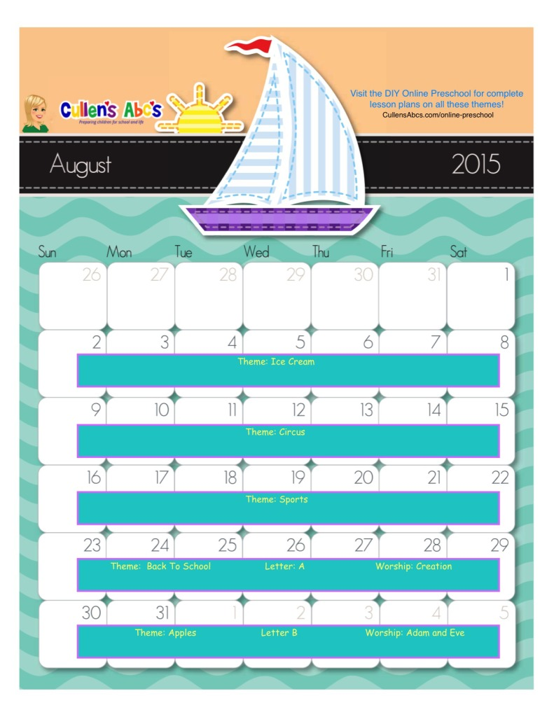August Online Preschool Calendar 2015