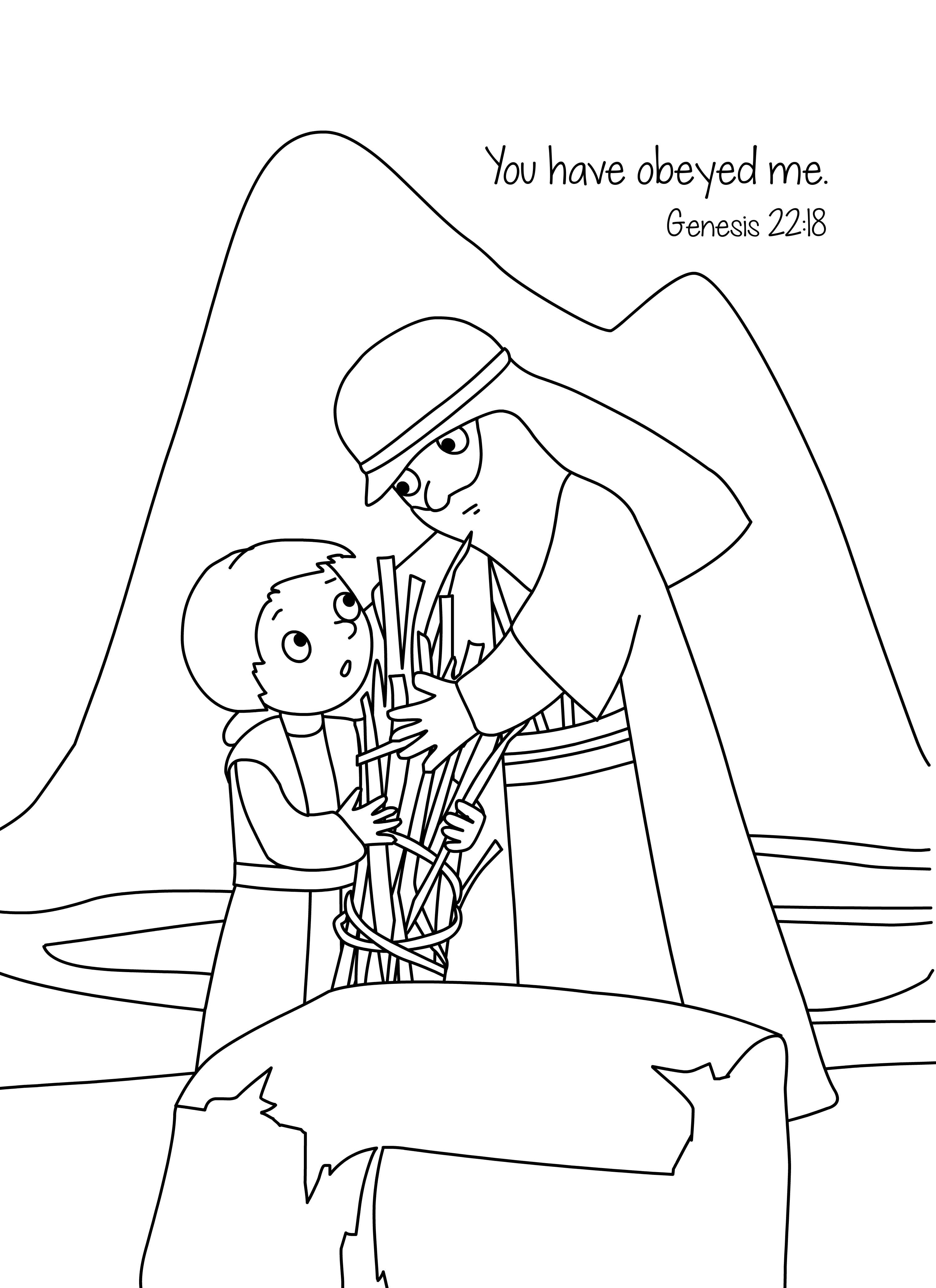 bible memory verse coloring page isaac u0026 the sacrifice online