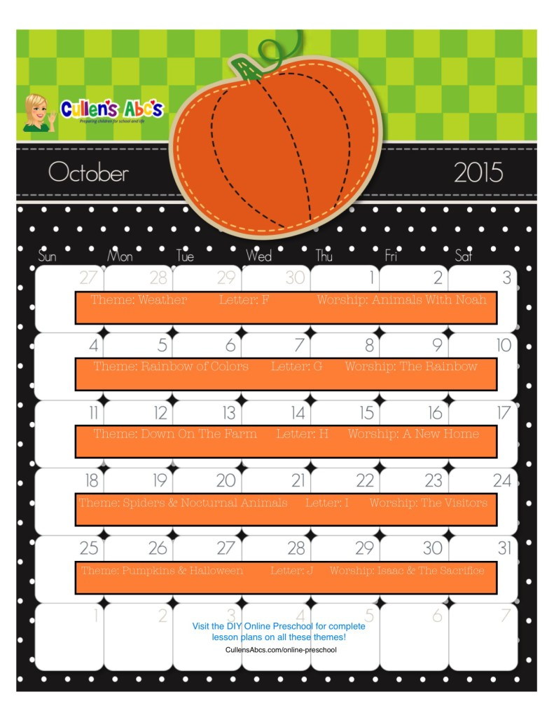 October Calendar Kindergarten : Preschool calendars christian children activities