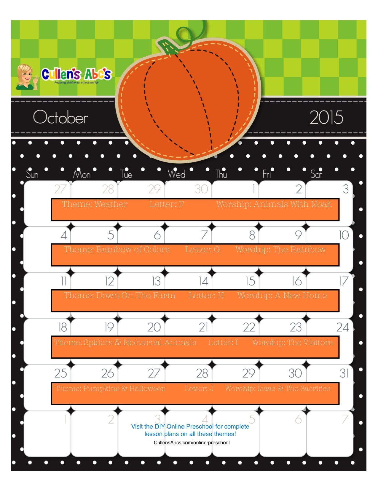October Online Preschool Calendar 2015