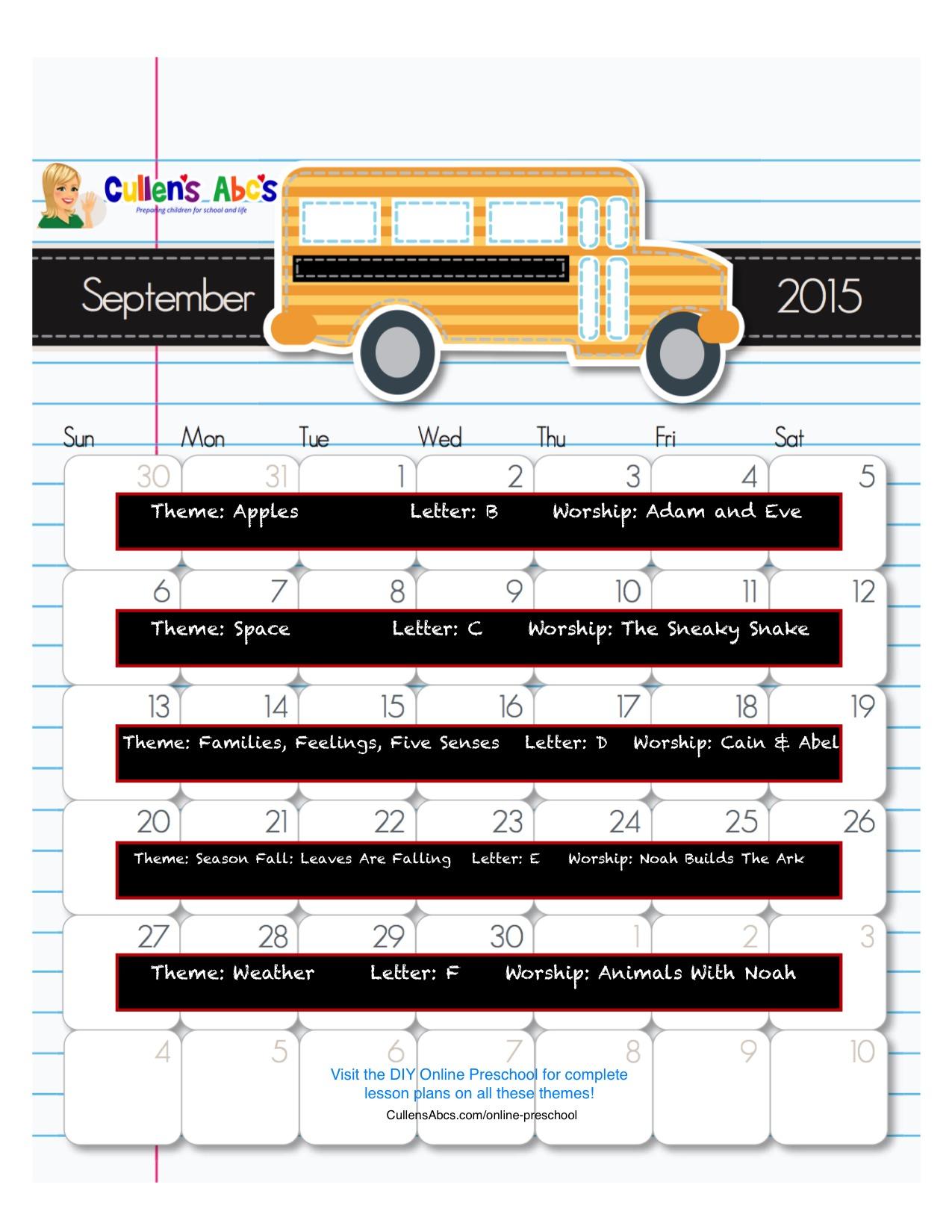 September Online Preschool Calendar 2015