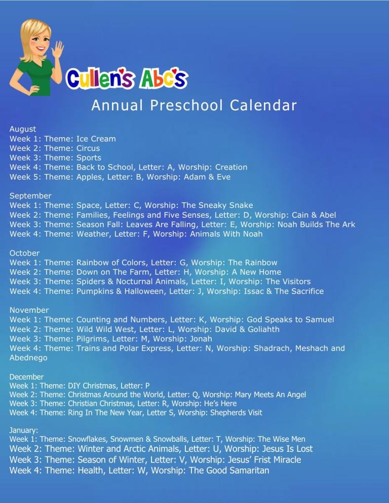 Annual Preschool Calendar